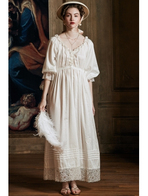 Elegant Vintage Medieval Underwear Chemise Long Dress