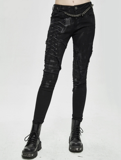 Black Gothic Punk Slim Long Pants for Women