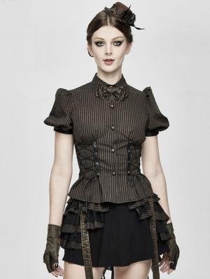 Brown Stripe Steampunk Short Sleeve Shirt for Women