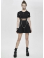 Black Gothic Punk Summer Short Dress