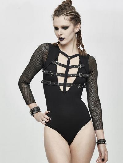 Black Sexy Gothic Punk Belt Siamese T-Shirt for Women
