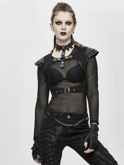 Black Gothic Punk Short Top for Women