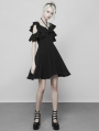 Black Gothic Double Lotus Leaf Chiffon Short Dress