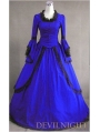Blue Masquerade Long Trumpet Sleeves Victorian Dress