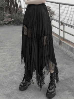 Black Gothic Chiffon Pleated Lace Long Skirt