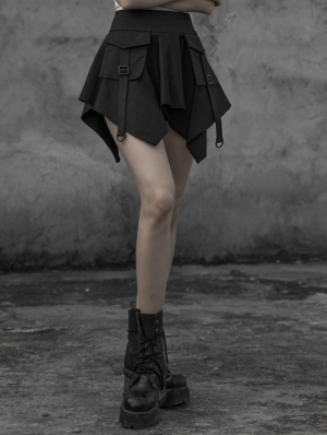 Black Gothic Punk Irregular Mini Skirt