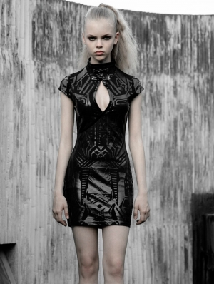 Black Cyber Prophet Futuristic Gothic Punk Sexy Short Dress