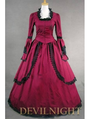 Red Masquerade Long Trumpet Sleeves Victorian Dress
