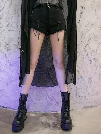 Black Street Fashion Gothic Punk Belt Denim Long Pants for Women