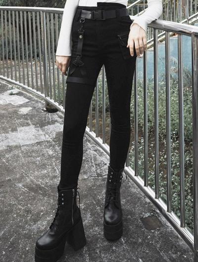Black Street Fashion Gothic Punk Denim Shorts for Women