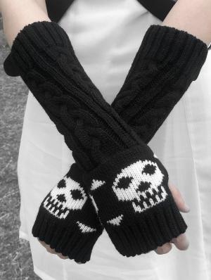 Black Gothic Punk Knitting Skull Wintert Gloves