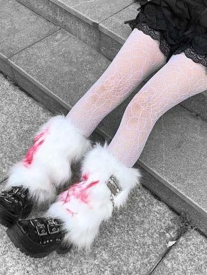 White and Red Faux Fur Gothic Punk Leg Cuffs