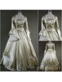 Vintage Champagne Long Trumpet Sleeves Victorian Masquerade Ball Gowns