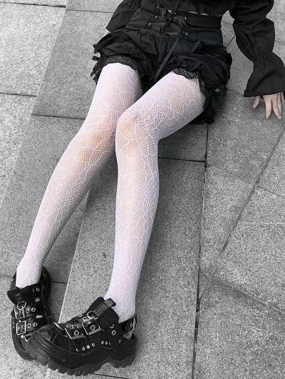 White Gothic Punk Fishnet Tights