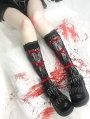 Black Gothic Punk Lace Socks with Red Ribbon