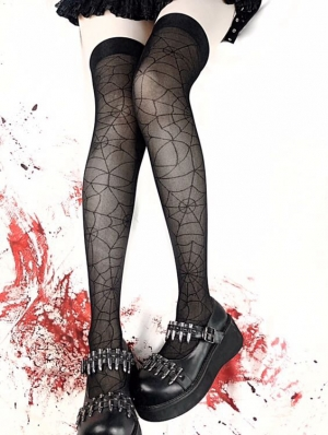 Black Gothic Punk Spider Web Thigh High Tights