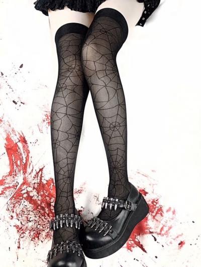 Black Gothic Punk Spider Web Thigh High Tights