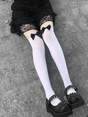 White Gothic Bowknot Knee Socks