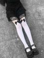White Gothic Bowknot Knee Socks