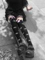 White Gothic Punk Skull Bowknot Knee Socks