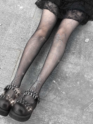Black Gothic Punk Sliver Spider Web Tights