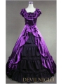 Classic Purple and Black Short Sleeves Bow Gothic Victorian Dress
