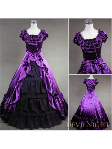 Classic Purple And Black Short Sleeves Bow Gothic