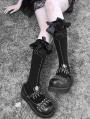 Black Gothic Punk Spider Web Bowknot Knee Socks