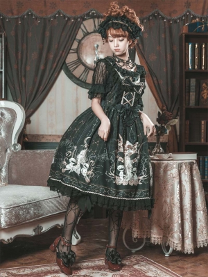 Returned Worlds Black Gothic Lolita JSK Dress