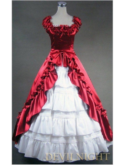 Classic Red and White Short Sleeves Bow Gothic Victorian Dress