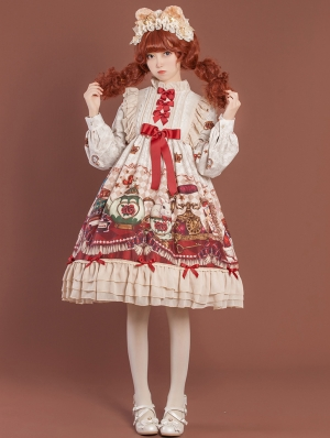 Ivory Crown Bear Long Sleeve Chiffon Sweet Lolita OP Dress