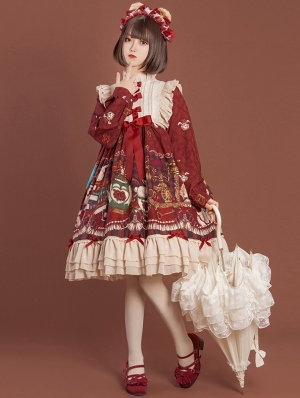 Red Crown Bear Long Sleeve Chiffon Sweet Lolita OP Dress