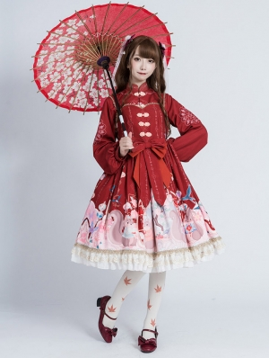 Red Squirrel Pattern Long Sleeve Chiffon Classic Lolita Two Pieces OP Dress
