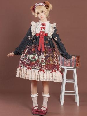 Black Crown Bear Long Sleeve Chiffon Sweet Lolita OP Dress