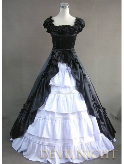 Classic Black and White Short Sleeves Bow Gothic Victorian Dress