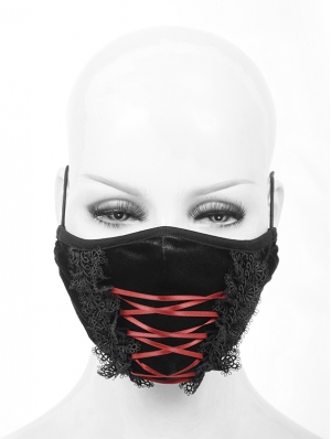 Black and Red Velvet Lace Gothic Mask for Women