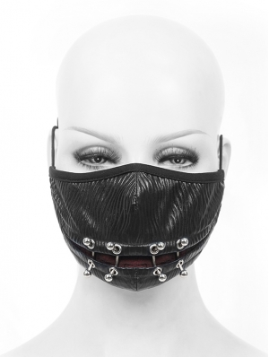 Black Gothic Punk PU Leather Unisex Mask