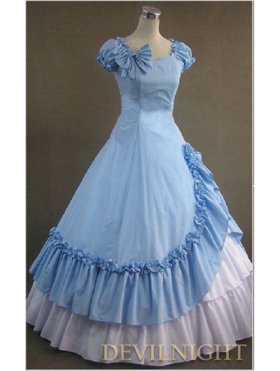 Classic Blue and White Ruffled Sweet Gothic Victorian Dress
