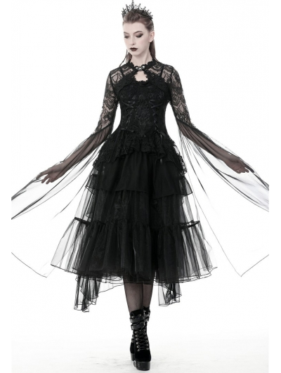 Black Gothic Mesh Lace Super Long Sleeves Cape for Women