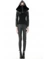 Black Gothic Punk PU Leather Masked Hooded Short Jacket for Women