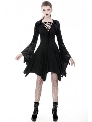 Black Gothic Velvet Witch Hooded Short Cape for Women