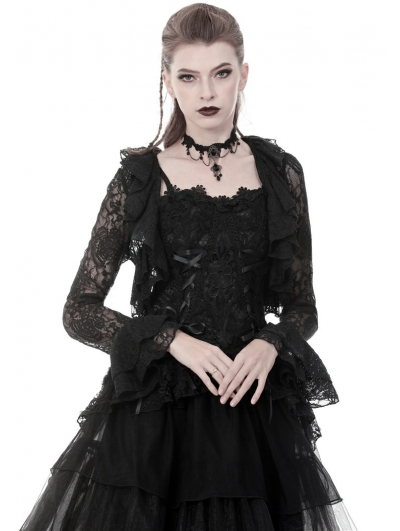 Black Gothic Short Lace Cape for Women