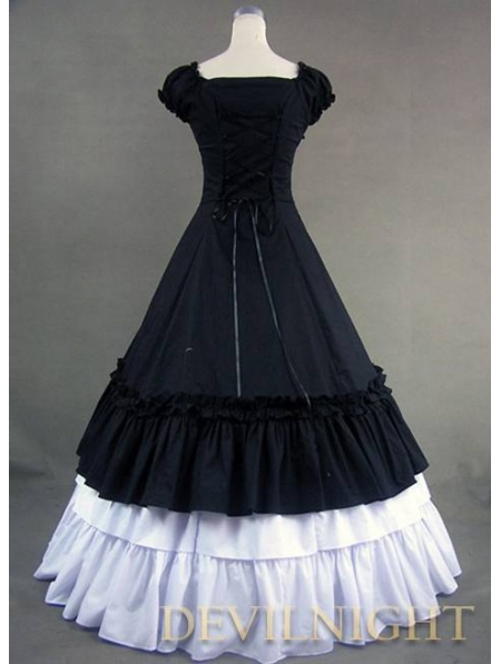 Classic Black And White Ruffled Sweet Gothic Victorian