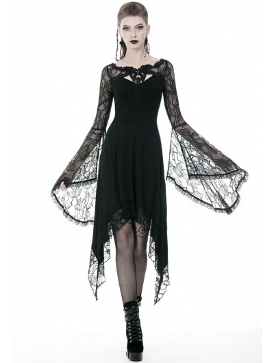 Black Gothic Lace Long Sleeve Asymmetrical Dress