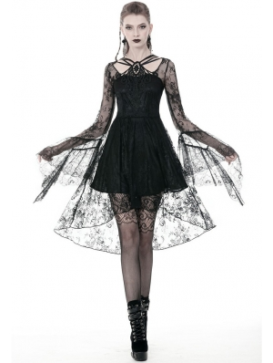 Black Gothic Lace Long Sleeve High-Low Party Dress