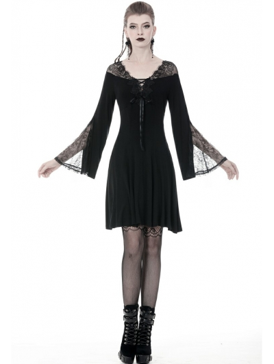 Black Gothic Long Sleeve Lace A-Line Short Dress