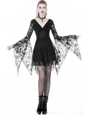 Black Gothic Kimono Style Lace Short Dress
