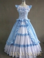 Vintage Blue and White Multi-layered Gothic Victorian Dress