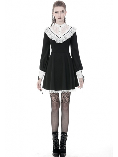 Black and White Gothic Lolita Long Sleeve Short Dress