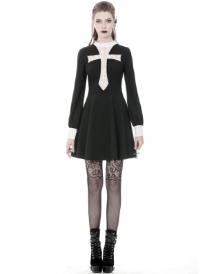 Black and White Vintage Gothic Skull Cross Long Sleeve Short Dress